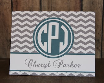 Notecards, Set of 14 Notecards, 38 Colors-Monogrammed Notecards with Envelopes, Teal and Gray Chevron Notecards, Custom Notecards
