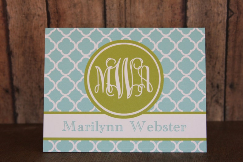 38 Colors-Monogrammed Notecards with Envelopes Custom Notecards Notecards Set of 14 Notecards Turquoise and Lime Green Notecards