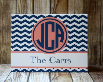 Notecards, Set of 14 Notecards 38 Colors-Monogrammed Chevron Notecards with Envelopes, Navy and Light Coral Notecards, Custom Notecards