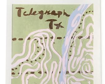 Telegraph TX Map - original serigraph print