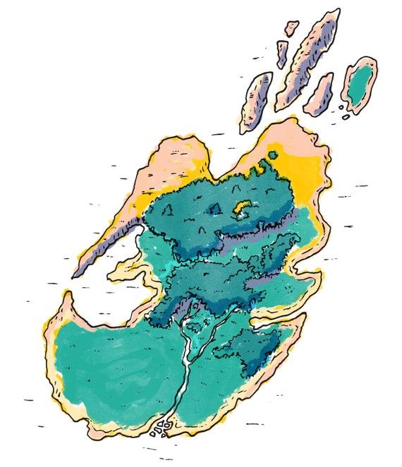 Karte Der Insel Druckbare Ausmalbilder Etsy