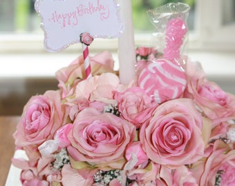 Floral Arrangement Happy Birthday Cake Candy Bouquet Silk Flower Centerpiece 3 In 1 Edible Shabby Chic