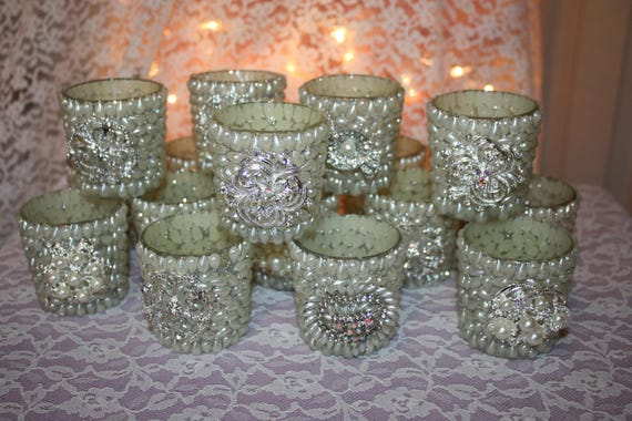 Wedding Votive Candle Holders Pearls And Glitter Votives   Etsy