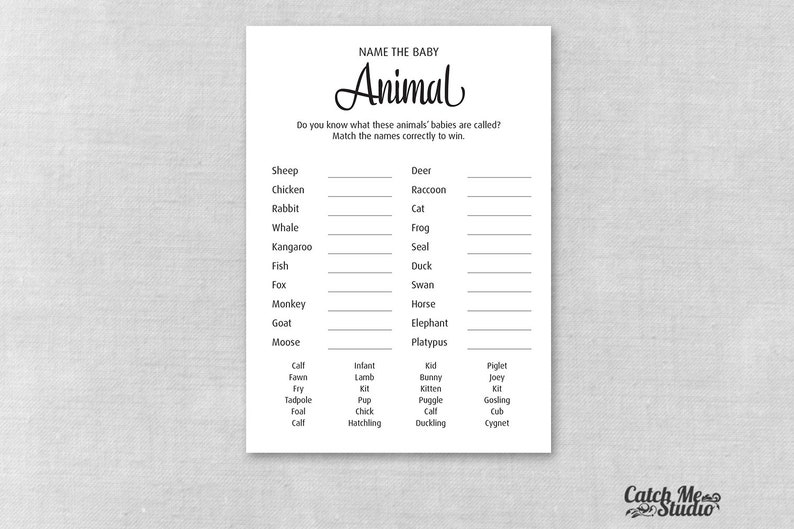 Elegant Baby Shower Game Name The Baby Animal, Classic Printable Name The  Baby Animals Game, Modern Baby Animal Match