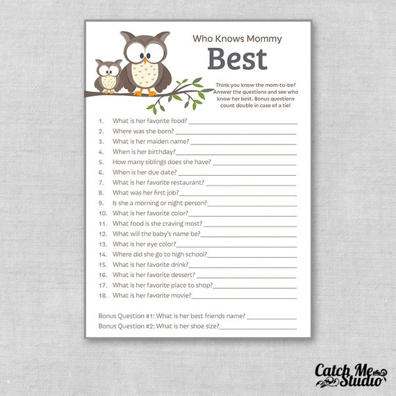 graphic about Who Knows Mommy Best Printable referred to as Printable Owl Paper Youngster Shower Recreation Who Is aware Mommy Least complicated, Owls Mommy Quiz, Who Is familiar with Mommy the Most straightforward Child Shower Social gathering Recreation