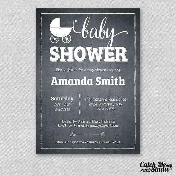 Printable chalkboard baby shower invite neutral baby shower etsy image 0 filmwisefo