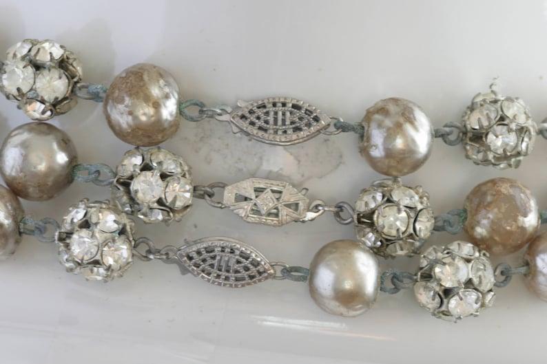 DECO Rhinestone Ball Triple Strand Necklace and Clip On Earring Set  Vintage Estate Jewelry  fruitsdesbois