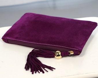 Purple Suede Clutch with Tassel art.S64R41