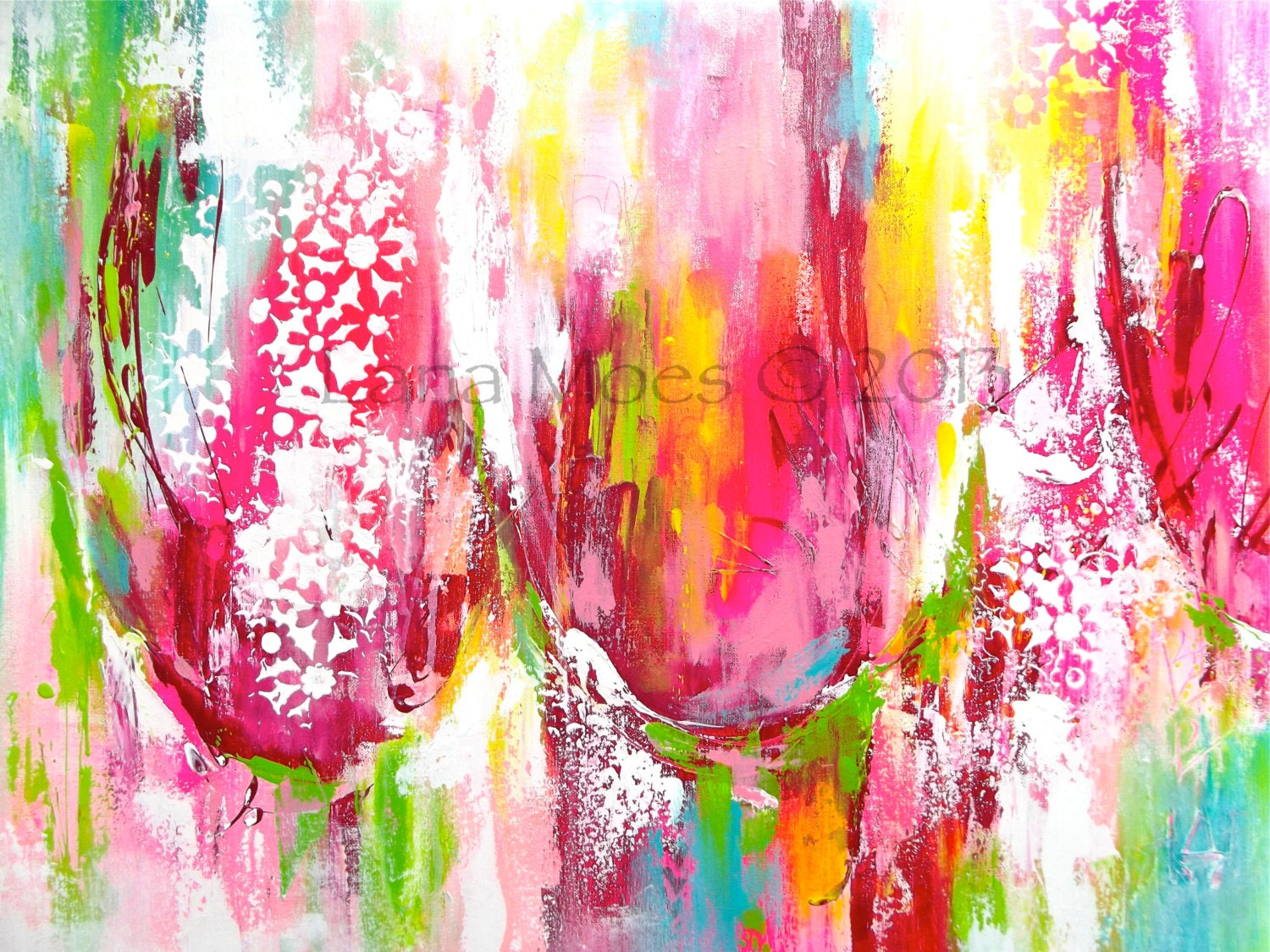 Pink Abstract Canvas Art: Large Abstract Tulips Painting Pink Red Chartreuse Teal