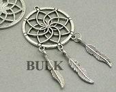 BULK 10 Dream Catcher Charms, Wholesale Large Dream Catcher with Feather pendant beads, Antique Silver 35X70mm CM1096S