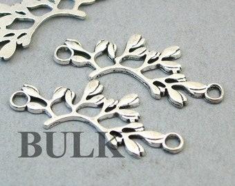 Antique Silver 16X40mm CM0744S BULK 25 Olive Branch Charm Connectors Wholesale Olive Leaf Link pendant beads