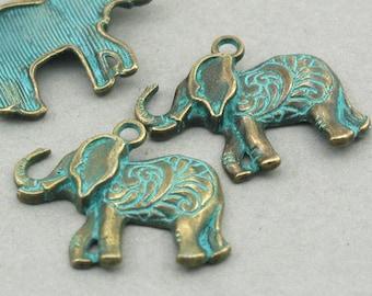 Elephant Charms, Green Elephant pendant beads, up to 6 pcs, Antique Bronze 22X25mm CM1006BR