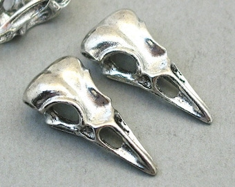 10 Antique Silver//Bronze//Gold Alloy Raven Bird Skull Head Charms Pendant 40x12mm