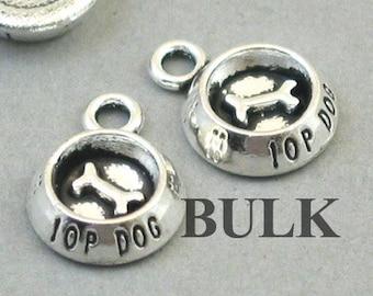 BULK 30 Dog bowl charms tibet silver A895
