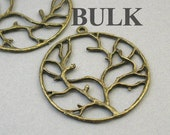 BULK 15 Tree Charms, Wholesale Large Tree of Life, Tree Branch pendant beads, Antique Bronze 40mm CM1417B
