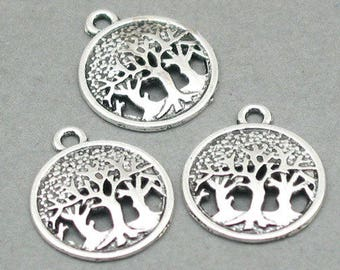 12 Tree Charms, Tree of Life pendant beads, Antique Silver 16mm CM0786S aa