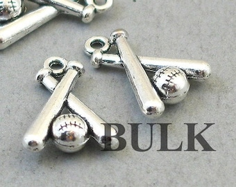 6 Baseball bat pendants antique silver tone SP42