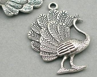 Large Filigree Phoenix Bird Link pendant beads up to 2 pcs Peacock Charm Connectors Antique Silver 40X55mm CM1661S