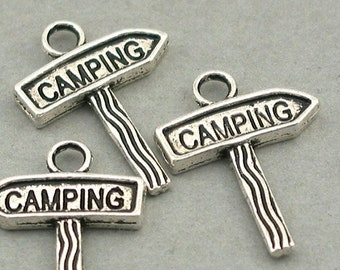 Antique Silver 17X22mm CM0532S Camping Sign Charms up to 12 pcs Camping pendant beads