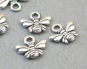 Antique Silver 9X11mm CM1599S BULK 80 Bee Charms Wholesale Wasp Small pendant beads
