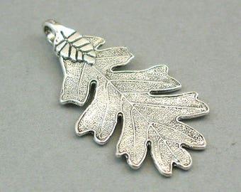 4 Leaf Charms, Large Acorn Leaf pendant beads, Antique Silver 26X48mm CM0521S
