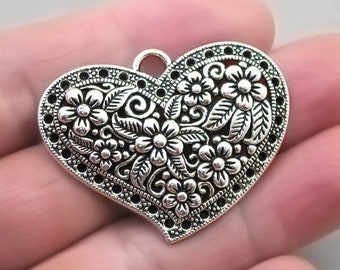 UK 8 5 ANTIQUE SILVER INSCRIBED GROOMSMAN RHINESTONE HEART CHARM~WEDDING
