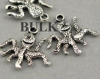 BULK 50 Octopus charms antique silver tone FF117