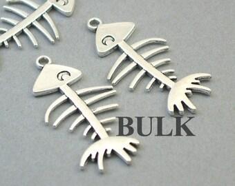 17x8MM Fish Bone Charm Double Side Antique Bronze Tone Zinc Alloy Metal Charm 10 Pcs 110363-1794