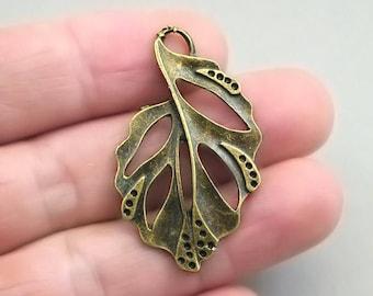 6 Leaf Charms Large Leaf Charm pendant beads Antique Bronze 24X41mm CM0081B