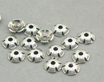 up to 30 pcs Flower 8mm Bead Caps Antique Silver BD0100S