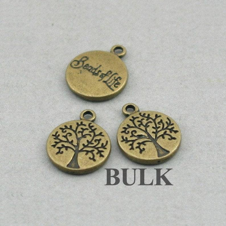 Antique Bronze 12mm CM0336B BULK 30 Tree Disc Charms Wholesale Tree of Life pendant beads