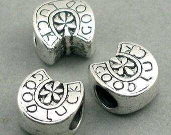Large Hole 'Good Luck' Horseshoe Beads Antique Silver tone 6pcs base metal beads 10X10mm BD0038S