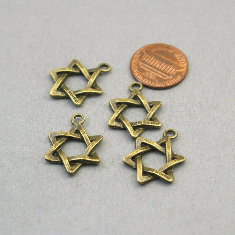 Wholesale Six Point Star pendant beads BULK 30 Star of David Charms Antique Bronze 17X23mm CM1454B