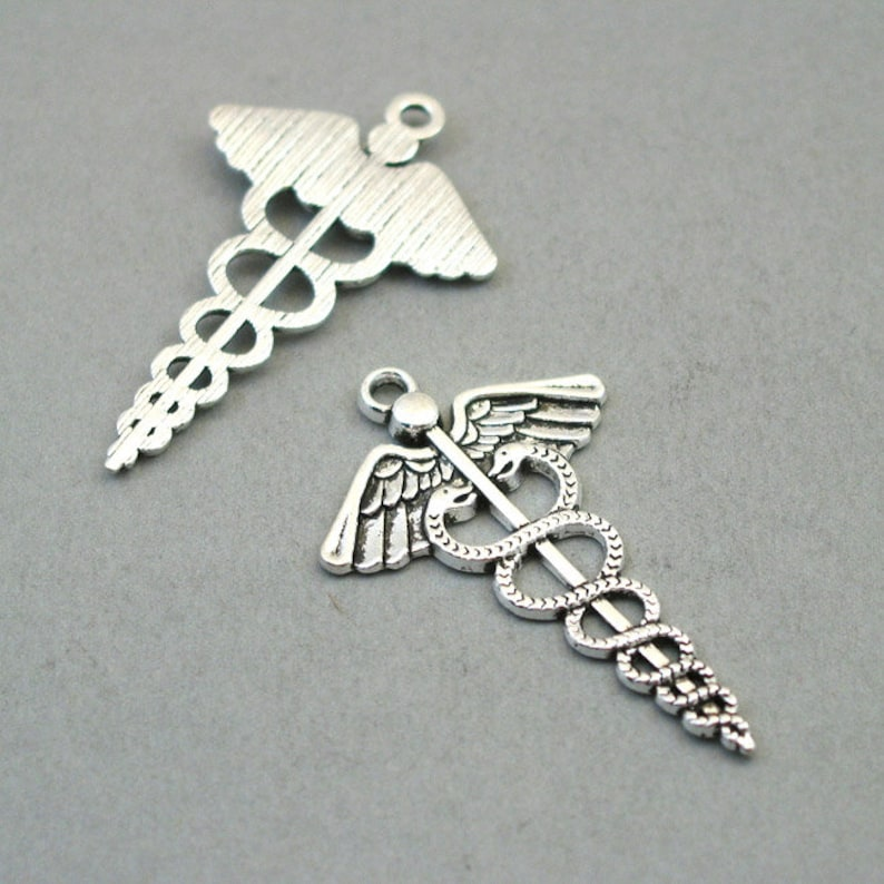 Caduceus Charms Antique Silver 30X50mm CM1457S Large Medical Symbol pendant beads up to 5 pcs