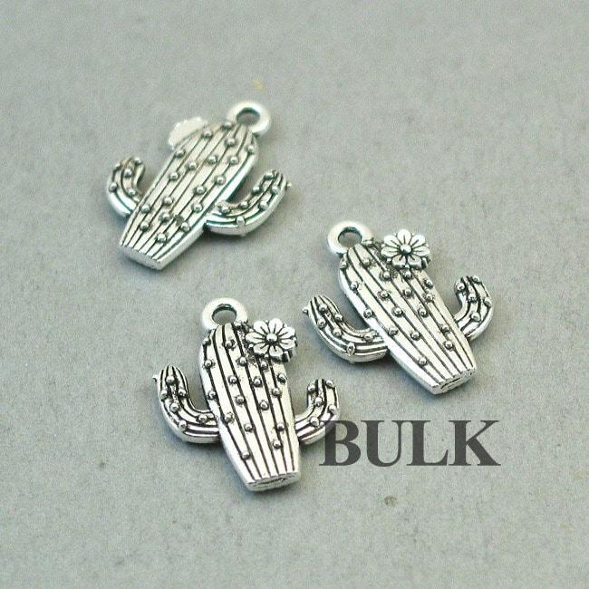 15X20mm CM1372S Cactus Flower pendant beads up to 12 pcs Cactus Charms Antique Silver