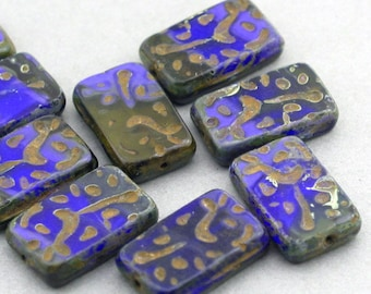 Czech Glass Beads 6pcs blue brown rectangle Picasso 12X18mm JB11102