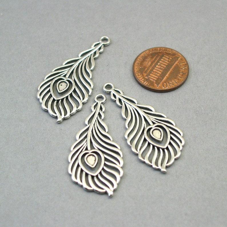 Antique Silver 18X40mm CM1339S Wholesale Phoenix Feather pendant beads BULK 20 Peacock Feather Charms