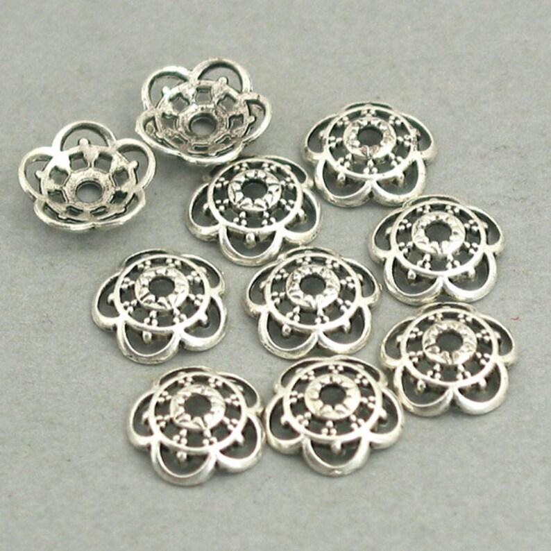 Antique Silver 10mm BD0053SC Flower Bead Caps up to 30 pcs