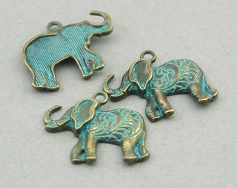 6 Elephant Charms Green Elephant pendant beads Antique Bronze 22X25mm CM1006BR