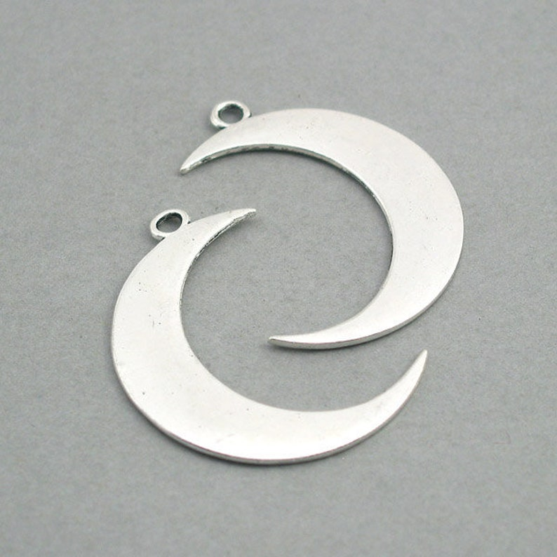 Moon Charms Large Crescent Moon pendant beads up to 4 pcs image 0