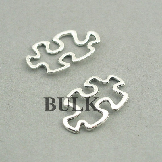 BULK 20 Barbell charms antique silver tone SP151