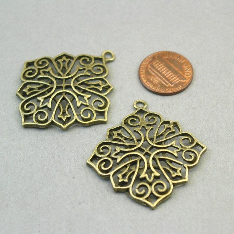 BULK 10 Flower Charms Wholesale Large Filigree Diamond Flower pendant beads Antique Bronze 40X44mm CM1382B