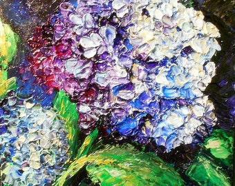 Modern  Original Purple Hydrangea Impasto Still Life   Palette Knife Thick Impasto Painting - by Kathleen Fenton