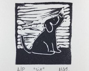 Linocut Print - Sit