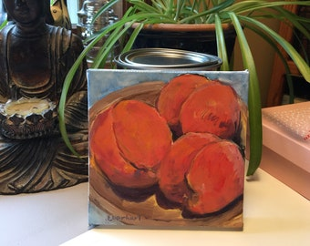 Original Oil Painting on Canvas - Peaches in Wooden Bowl