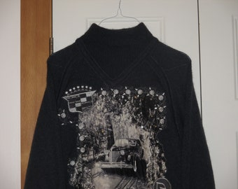 Rare NOS Vintage 1980s Rolls Royce Hip Hop Patch Mohair Sweater