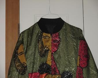 Rare Vintage 1990s Picasso Rave Hip Hop Reversible Bomber Jacket