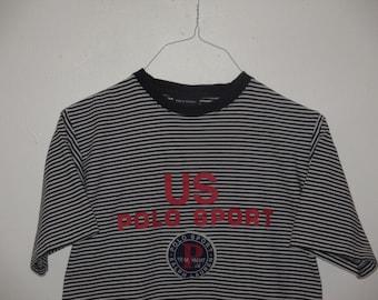 Rare Vintage 1990s Polo Sport Ralph Lauren Hip Hop Logo Patch T Shirt