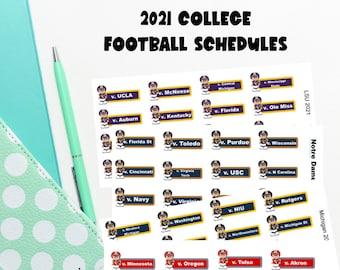2021 College football team football schedules university