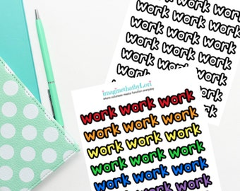bubble words work due planner stickers